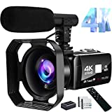 4K Video Camera Camcorder 48MP Image Vlogging Camera with Wi-Fi Video Camera for...