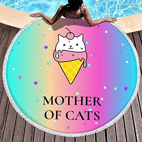 Wraill Toalla de playa redonda con diseño de gato, la madre de los gatos, para la playa, para adultos, niños, spa, yoga, deportes, microfibra, superabsorbente, con color blanco, 150 cm