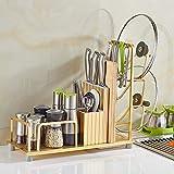 L.KYX Toallero Space Aluminium Racks de Cocina/Racks de Cuchillos/Racks de Tapa de Olla/Racks de condimentos/Racks de implementos de Cocina para Colgar en la Pared (Color: Oro, Tamaño: 45 * 40CM)
