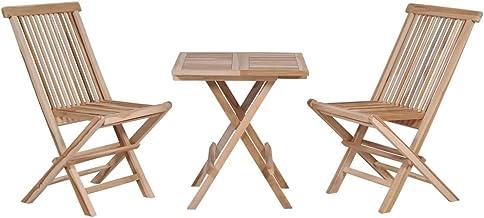 vidaXL 3 Pieces Solid Teak Wood Folding Bistro Set Weather Resistant Garden Outdoor Lounge Chair Table Set Conversation Ch...
