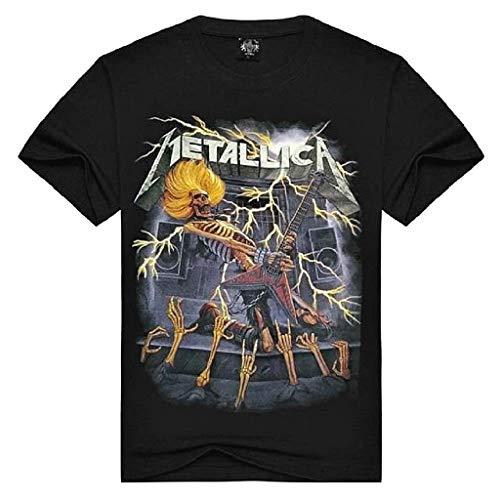 Hemd met korte mouwen voor heren kinderen korte mouwen muziekgroep elektrische gitaar skelet kleur zwart T-shirt metallic Rock Punk Hard