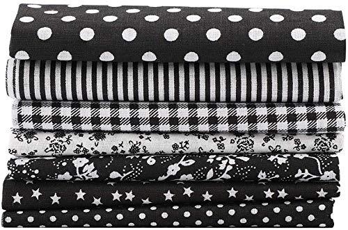 Tessuto Cotone Stoffa, Comius Sharp di Tessuto in Cotone, Stoffe per Cucito Creativo per Patchwork, Foderare Cuscini, Vestiti e Cucito (7 Pezzi 50 x 50 cm Black)