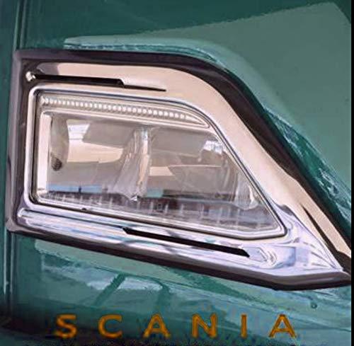 Top koplamp frames roestvrij stalen randen voor SCANIA S R HIGHLINE 2016+ trucks