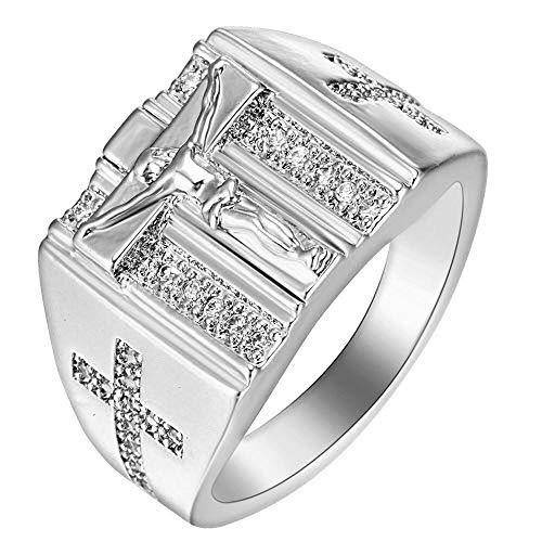 BQZB Ring Octbyna Oro Plata Titanio Jesús Cruz Anillo de Diamantes de