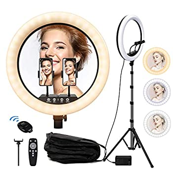 18  Selfie Ring Light with Tripod Stand 30 Dimmable Led Beauty Camera Ringlight for Live Stream/Makeup Lamp/YouTube/TIKTok 3 Cellphone Holder for Video/Vlog/Photography Compatible with Smartphone