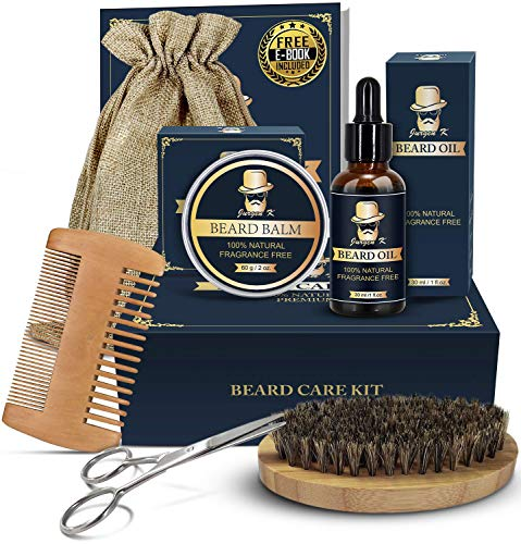 Beard Kit for Men, Beard Grooming Kit for Men Gift Set, Upgraded Beard Growth Kit - Beard Oil, Beard Balm, Beard Brush, Beard Comb, Beard Scissors Luxury Gift Box and E-Book, Beard Care Kit for Men
