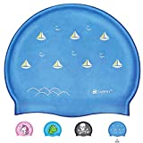 ZABERT C600 Kinder Badekappe Silikon Badekappen Wasserdicht schwimmhaube kinderbadekappe Jugend Jungen mädchen Baby - Lange Haare badehaube Bademütze Blau Segelboot