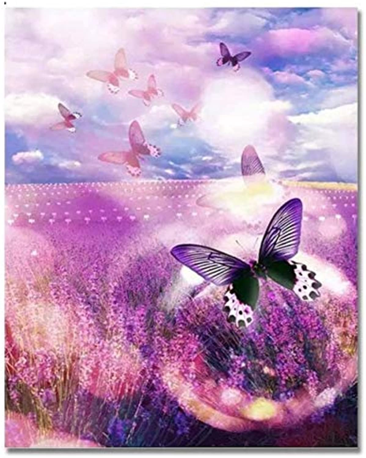 UPUPUPUP Oil Flower And Butterfly Pictures By Numbers Diy Hand Painted Canvas Art Painting coloring By Numbers For Living Room Gift,Tworidc550X70Cm Framed