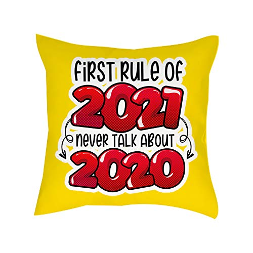 Getagift First rule of 2021 never talk about 2020 Cushion for Bedroom/Sofa Decor, Cotton Satin Cushion, Throw Pillow Cushion Birthday Present. (Satin Cushion Cover With Insert)