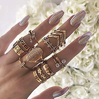 Nicute Boho Gold Rhinestone Stackable Joint Knuckle Ring Vintage Carving Flower Finger Rings Set for Women and Girls(13 Pieces)