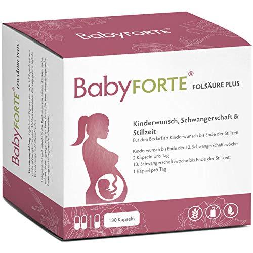 BabyFORTE FolsäurePlus - Vegan - Schwangerschaftsvitamine - Kinderwunschvitamine - 17 Nährstoffe - 180 Kapseln + Laborgeprüft