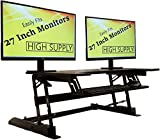 Standing Desk Height Adjustable Stand - Up Sit Stand Desks Converter Standup Workstation Fits Big Monitors 36 Inches Wide (Black)