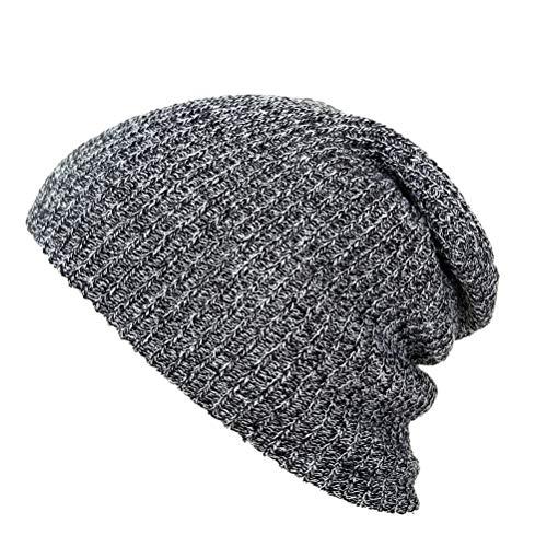 BESTOYARD Unisex Slouchy Wintermütze Strickmütze Weiche warme Ski-Mütze Hip-Pop Mütze für Herren und Damen (Dunkelgrau)