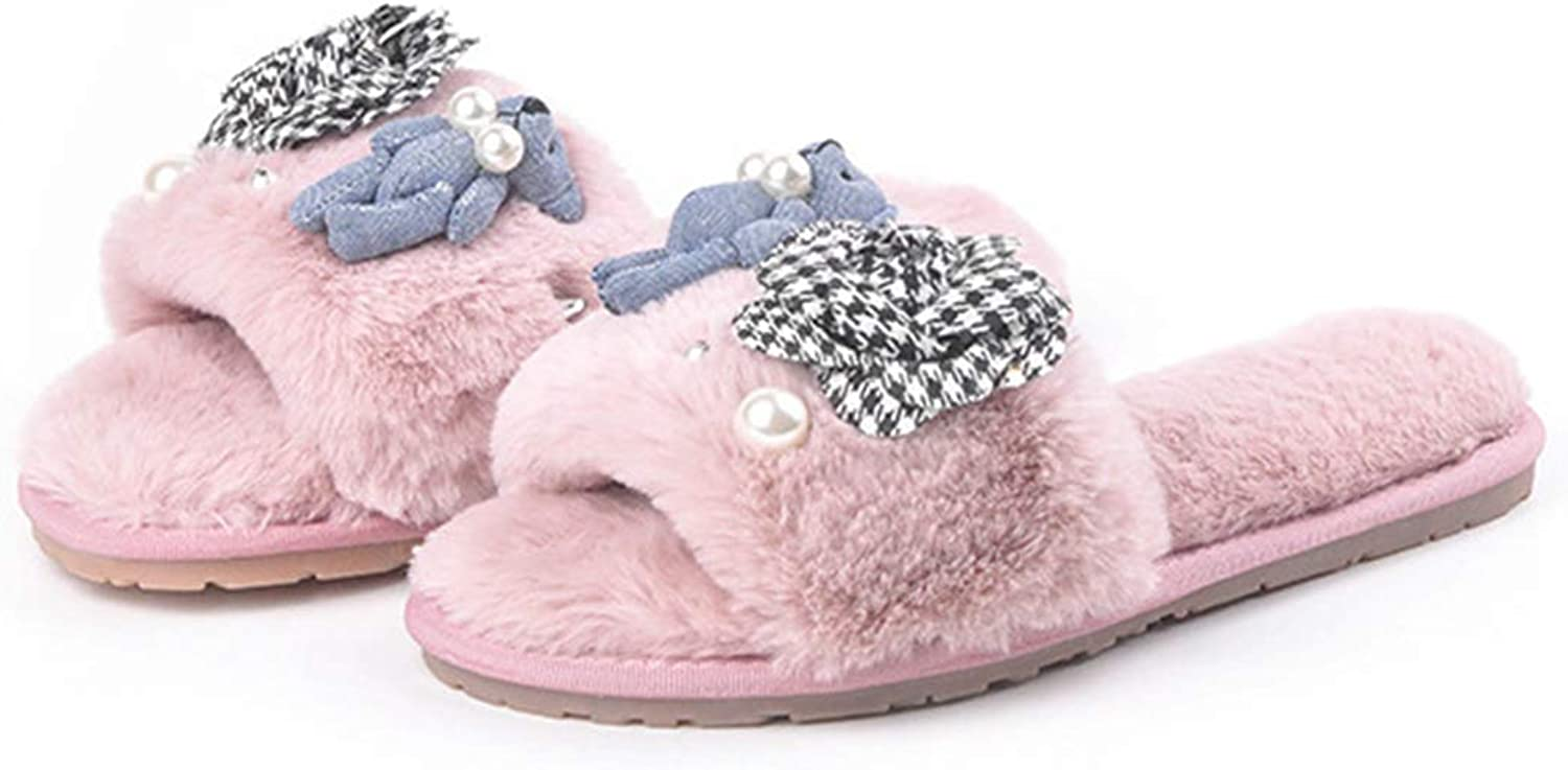 Zarbrina Women Fuzzy House Slippers Winter Soft Cozy Cute Doll Girl Fluffy Home shoes Winter Warm Indoor Footwear