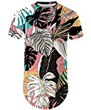 Mens Hipster Hip Hop Ripped Round Hemline Longline Curve Rose Floral T-Shirt Drop Tail Summer Tee 017 L