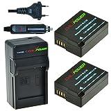 ChiliPower DMW-BLC12, DMW-BLC12E, DMW-BLC12PP - Juego de 2 baterías y Cargador para Panasonic Lumix DMC-FZ200/FZ300/FZ1000/FZ2000/FZ2500, DMC-G5, DMC-G6, DMC-G7, DMC-G80, DMC-G85, DMC-GH2, DMC-GX8