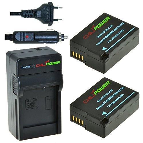 ChiliPower DMW-BLC12, DMW-BLC12E, DMW-BLC12PP - Juego de 2 baterías y Cargador para...