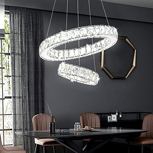 Modern LED Ring Crystal Chandeliers Contemporary Free Shipping New 2 Light Fixture Price reduction
