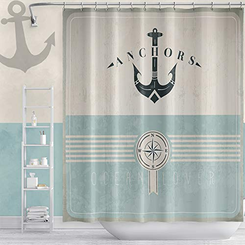 """Musemailer Waterproof Polyester Anchor Shower Curtain 72""""x72"""" Nautical Themed Ocean Lover Blue and Gray Shabby Chic Fabric Quick-Dry Marine Style Shower Curtain for Bathroom Bathtubs Shower Room"""
