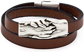 Flat Leather Wrap Bracelet with Silver Hand and Dog Paw Charm | Magnetic Clasp | Ideal for Pet Lovers and Pet Memorials
