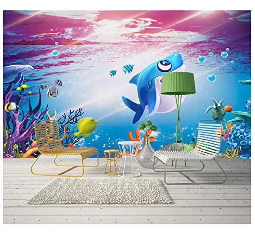 Fotobehang aangepaste schattige cartoon onderwater dierwalk behang wandsticker slaapkamer woonkamer TV achtergrond wand 3D HD Home decoratie wandfoto 350(w)x256(H)cm