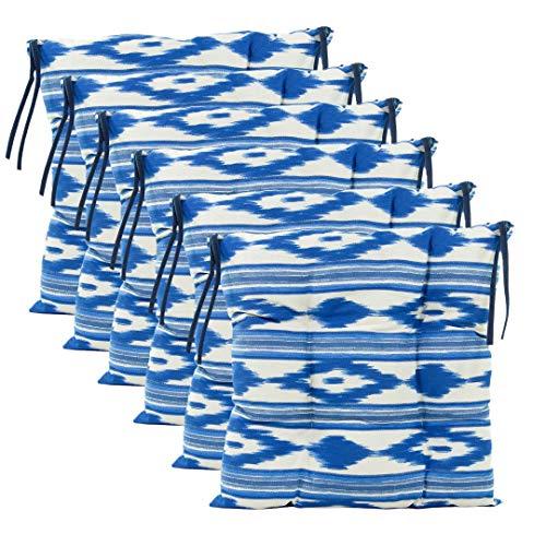 TRESMESTRES, Cojines para Sillas de Jardín, Terraza Exterior, Cocina o Comedor, Comodidad sin Renunciar a tu Decoración, 40x40x8 cm (Blanco-Azul, 6)