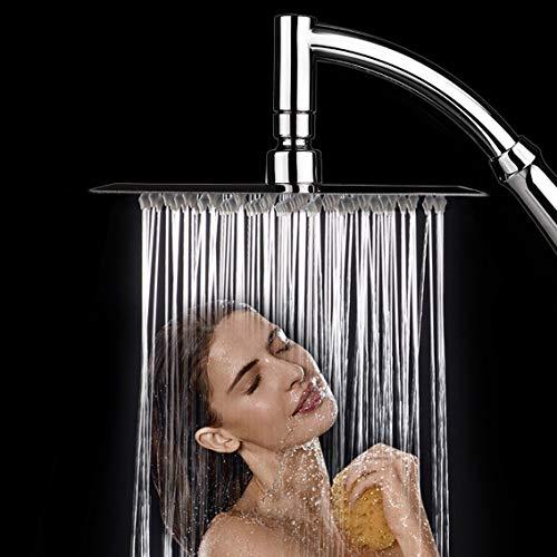 Regenschauer-Duschkopf, Quadratisch Regendusche, 8 Zoll Brausekopf aus Edelstahl mit Halterung und Duschschlauch, Hochdruck, Wassersparend, Drehgelenk