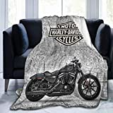Youjia Har-Ley Da-Vid-Son Throw Blanket Lightweight Soft Flannel Motorcycle Bed Blankets Gifts for Men Home Couch 50'X40'