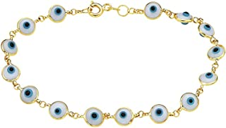 أساور ساحرة من الذهب الخالص عيار 14 قيراط مع عين شرير من بوري جوليرز - 17.78 سم - متوفرة بألوان متعددة