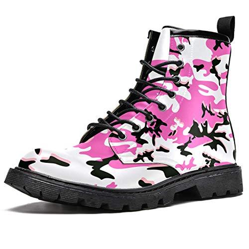 Botas de invierno con estampado de camuflaje rosa para mujeres y niñas, botas de nieve cálidas con cordones de tobillo para la escuela, color Multicolor, talla 39 EU