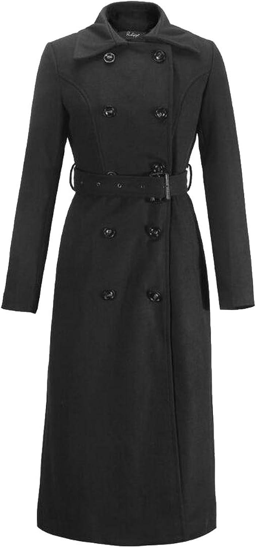 Alion Women Casual Double Breasted Long Woolen Parka Coats