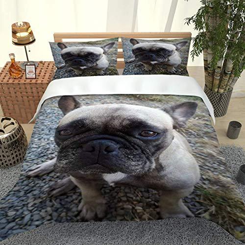 JFDEFNR Juego De Ropa De Cama De Microfibra,Juego De Fundas De Edredón Impresa Modernos 260X220Cm,Cachorro Animal Patrón (1 Funda Nórdica Y 2 Funda De Almohada) Comodidad Y Calidez
