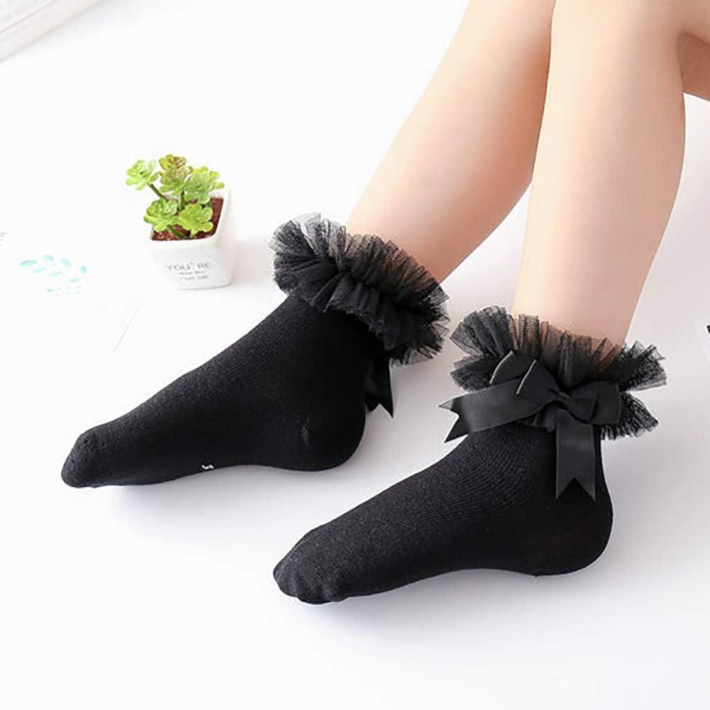 Looching Baby Toddler Girls Ruffle Frilly Lace Socks Breathable Cotton Eyelet Princess Socks 5 Pairs