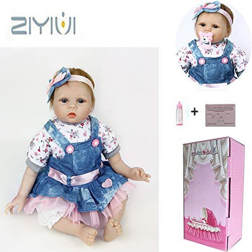 ZIYIUI Hermoso Reborn Baby Dolls 22 Pulgadas 55cm Realista Bebé Muñeca Niña Realista Suave Silicona Niño Recien Nacidos Juguete Reborn bebé