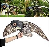Natural Fake búho señuelo espantapájaros pájaro Control de plagas con alas movimiento realista Scare Bird