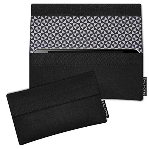 SIMON PIKE Hülle Tasche kompatibel mit BQ Aquaris C   Filztasche Newyork in 18 schwarz aus Filz (echtem Wollfilz) Handyhülle