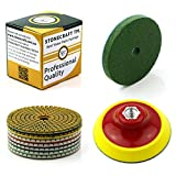 Stonecraft - Wet/Dry Diamond Polishing Pads Universal 9 pcs Set 4' Inch 5/8 Thread Backing Pad & Sponge for Marble, Granite, Stone, Concrete