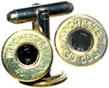 .45 Colt Polished Brass Cuff Link/Tie Pin Set with Swarovski Crystals- Black Winchester
