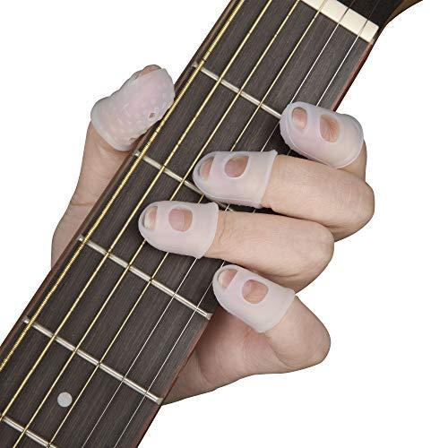 MengH-SHOP Protezioni per Dita della Chitarra Silicone Coperture per Dita per Chitarra per Strumenti a Corda Cucito 5 Taglie 50 Pezzi