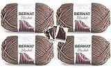 Bernat Blanket Yarn - Big Ball (10.5 oz) - 4 Pack with Patterns (Taupe)