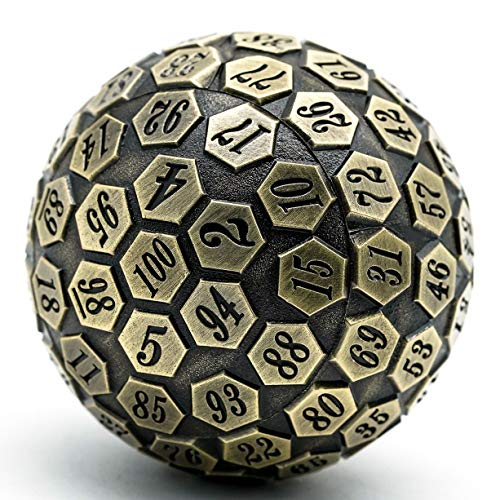 Cusdie D100 DND Metal Dice, 100 Sided Giant Metal Dice, Single D100 Polyhedral Dice with Metal Case and Velvet Pouch for RPGs (Ancient Bronze)