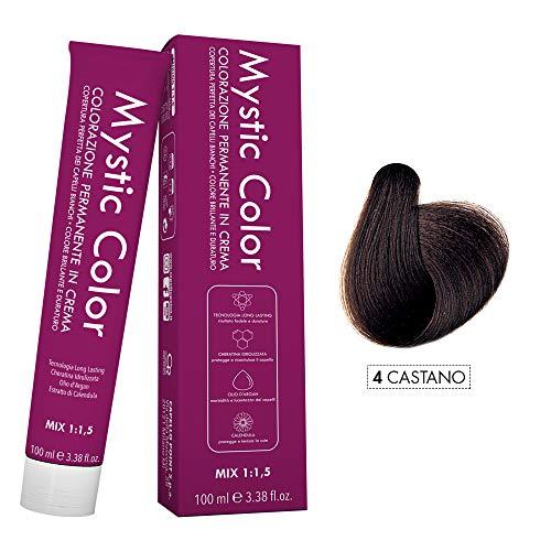 Mystic Color - Crème Colorante Permanente à l'Huile d'Argan et au Calendula - Coloration Longue Durée - Couleur Brun 4 - 100ml