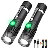 Rechargeable Flashlight, LED Tactical Flashlight, 1200 Lumens Super Bright Pocket-Sized T6 LED Torch with Clip, IPX6 Water Resistant, 4 Modes for Camping Hiking Emergency (2 pack)
