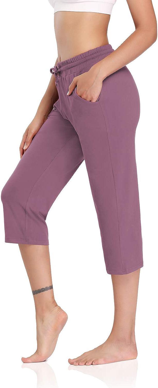DIBAOLONG Womens Yoga Pants Capri Wide Leg Comfy Drawstring Loose Lounge Workout Pants with Pockets: Clothing