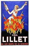 ELITEPRINT Vintage Beers, Wines and Spirits Kino LILLET AU VIN Blanc DE LA GIRONDE c1937 250 g/m² brillante Art Card Reproducción A3 Póster Art Deco V2
