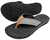 ADAX Womens Memory Foam Flip Flops,Comfortable Arch Support Thong Sandals Yoga Mat Casual Walkings,Slip On Cushioned Non Slip Summer Beach Slippers Chanclas Sandalias Para Mujer Indoor Outdoor Black Size 8