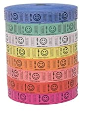 Raffle Tickets - 4 Rolls of 2000 Tickets) 8,000 Total Smile Raffle Tickets (4 Assorted Colors) You will receive 4 different random colors from among the eight colors shown. 4 Full rolls of 2,000 Smile Raffle Tickets measuring 2 inches long and 1 inch...