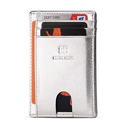BRAVE BROS - Slim Genuine Leather RFID Blocking Minimalist Front Pocket Wallets Card Holders for Men Women (Silver Sand)