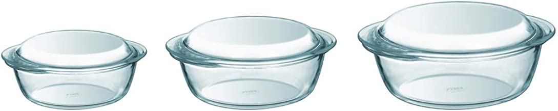 Pyrex Essentials Glass Casserole Set (3-Piece Set), 1.4L, 2.1L and 3L