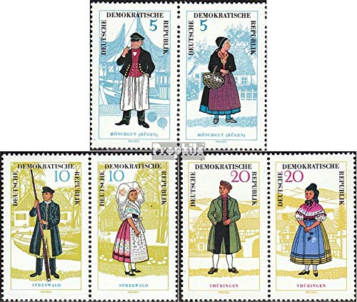 DDR mer.-no.: wzd145,wzd147,wzd149 (1074-1079 Que Couples) 1964 Costumes (Timbres pour Les collectionneurs) Uniformes / Costumes